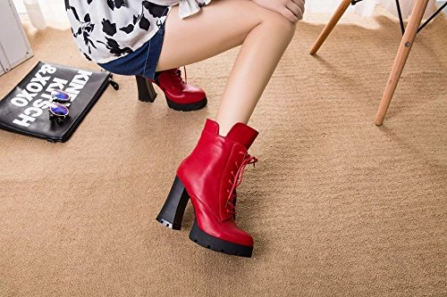 yalanshop The plush video thin high-heeled women stylish straps side zip waterproof Taiwan thick with short boots, the wine is red (B) 37
