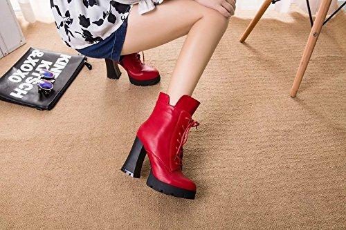 rojo 39 de vino con B impermeable vídeo El de mujer cortas lateral botas Taiwán tacón elegante cremallera delgado de color felpa es grueso correas el qBxU5S