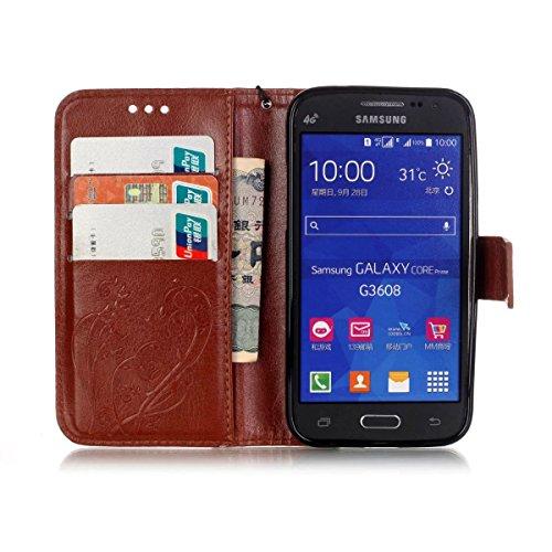 JIALUN-Personality teléfono shell Samsung G360 estuche, caja de cuero de la PU Premium Folio Flip estuche caso de la caja de la flor en relieve para Samsung G360 Seguridad y Moda ( Color : Gold , Size Brown