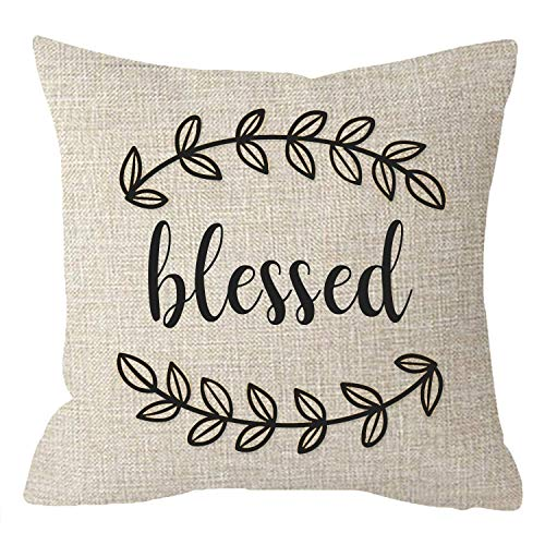 FJPT Throw Pillow Cover Thanksgiving Autumn Inspirational Blessed Quote Words Beige Cotton Pillowslip for Sofa Bed Stand Size Pillowcase 24x24 Inch