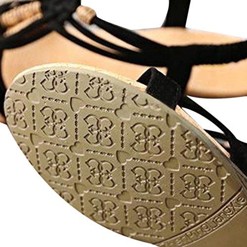 Femmes Sandale Euone Été Décontracté Peep-toe Plat Boucle Romaine Chaussures 36
