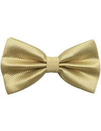 Mens Pre-tied Plaid Pattern Formal Bowties Banded Bow Ties (Champagne)