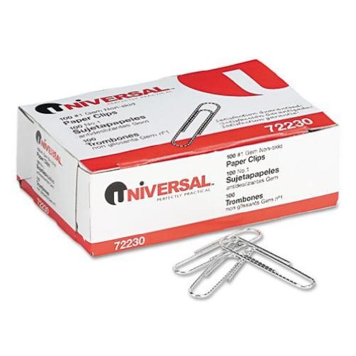 Universal Nonskid Paper Clips, Wire, No.1, Silver, 100 ct by Universal