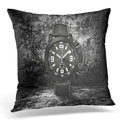 Emvency Throw Pillow Cover Wrist Black Luxury Watch Dark Chronograph Clock Swiss Accessory Decorative Pillow Case Home Decor Square 18 x 18 Pillowcase