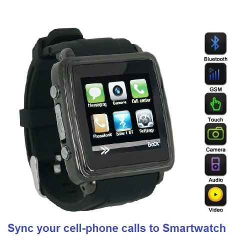 (SmartWatch (Black Case & Black Strap) : Smartwatch (Sync calls to iPhones,Android Phones,Bluetooth Phones).Quad-Band GSM Bluetooth Cell Phone,Music&Video Multimedia Player,FM radio,Camera.(Includes 8GB Flash,& Micro/Nano-to-Mini SIM Card Adapters))
