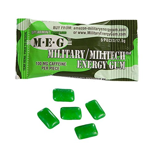 MEG - Military Energy Gum | 100mg of Caffeine Per Piece + Increase Energy + Boost Physical Performance + Spearmint (1,440 Count) by MEG (Image #2)