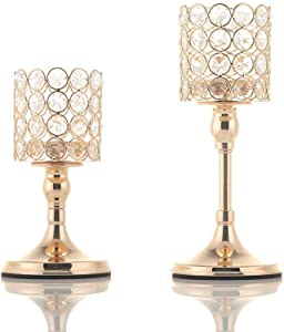 VINCIGANT 2 PCS Crystal Candle Holders for Home Modern Decor/Wedding Table Centerpieces,Anniversary Celebration Gifts, 8 and 10 Inches Tall