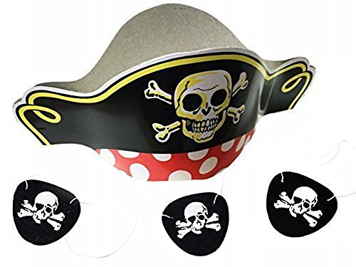 GIFTEXPRESS Pirate Hats and Felt Pirate Eye Patches 1 dozen ()