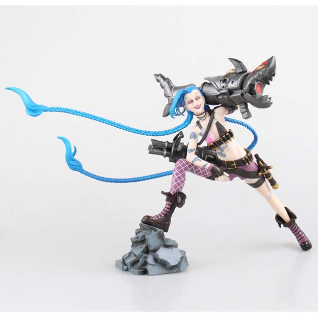Hyzb Modelo de Personaje de League of Legends - LOL 23CM Loli Shootout Edición Modelo de Juguete de Jinx Doll Decoración/Regalo/Colección/Artesanía