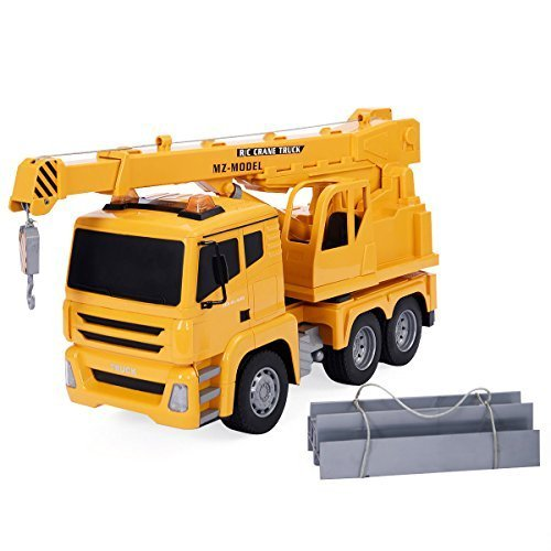 S AFSTAR Safstar 1/18 5CH Remote Control Cement Mixer Truck Crane Heavy Construction Lifting Truck Fire Engine Truck Kids Toys (Yellow Lifting Truck) -