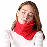 Poppin Kicks Travel Pillow Airplanes, Car, Office, Neck Support Flying, Power Nap Neck Pillow, Travel Accessories Women Men, Red