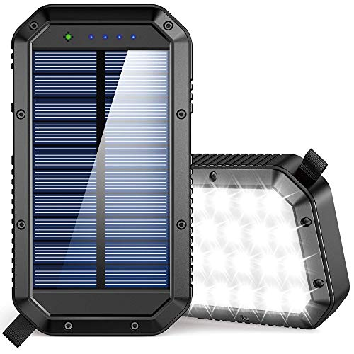 Solar Power Bank 25000mAh, 36 LEDs Emergency Portable Solar Battery Charger with 3 Output Ports External Battery Pack Camping Supplies Solar Phone Charger for Cell Phones, iPhone, Android, Tablets