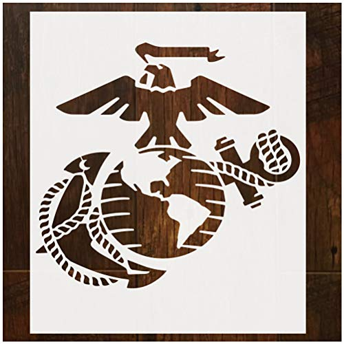 QIUYE Large U.S Marine Corps Stencil, Reusable Stencil for Painting On Wood, Fabric, Airbrush, Walls Art, Milky White Translucent