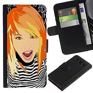 iKiki Tech / Cartera Funda Carcasa - Girl Clever Redhead Ginger Grunge Chick - Samsung Galaxy S3 III I9300