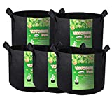 VIVOSUN 5-Pack 300G Fabric Pots Grow Bags with Handles