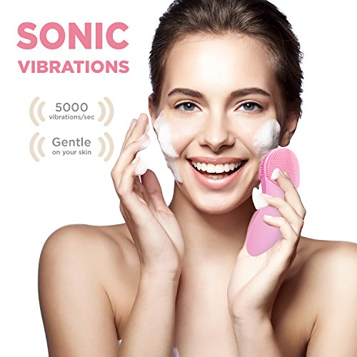 Fancii Sonic Silicone Facial Cleansing Brush, Waterproof Rechargeable Face Brush Spa System for All Skin Types – Daily Cleansing, Exfoliation and Massage – Rhea (Pink)