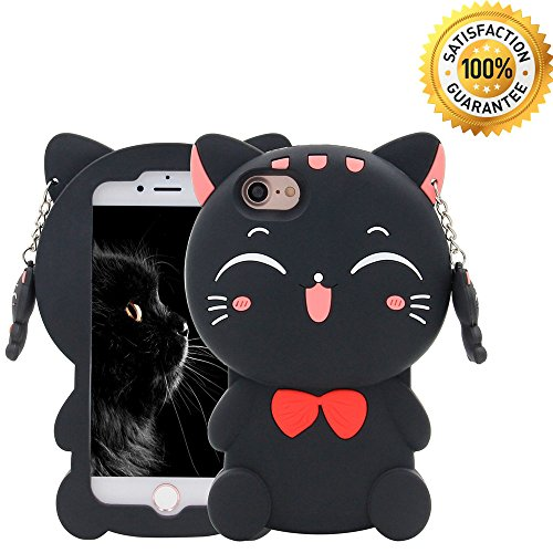 iPhone 7 Case, iPhone 8 Case, iPhone 6/6S, Cute 3D Cartoon Silicone Fortune Kitty Cat Kids Girls Gift Animals Soft Shockproof Protector Shell Skin For Apple iPhone 6/7/8 4.7'' - Black Bow Tie Cat
