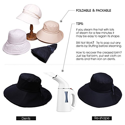ed36fb7c460 Siggi Womens Wide Brim Summer Sun Flap Bill Cap Cotton Hat Neck Cover UPF 50 +