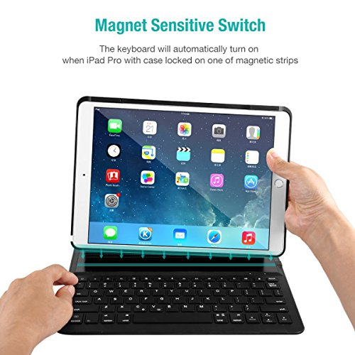 LEVREA iPad Pro 10.5 Keyboard Case, Ultra-Thin Lightweight Bluetooth Keyboard with Magnetically Intelligent Switch and Multi-Angle for Apple iPad Pro 10.5 inch by LEVREA (Image #2)