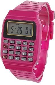 ساعة وآلة حاسبة من السيليكون اللون وردي