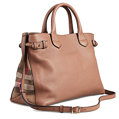 Tote Bag Handbag Authentic Burberry Medium Banner in Leather and House Check Dark Sand Item 39589811