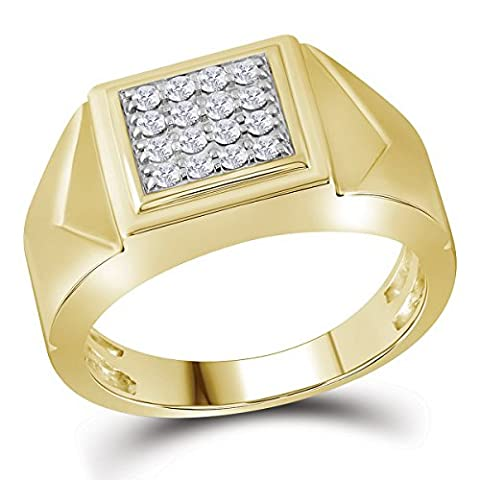 10K Yellow Gold Mens Square Cluster Genuine Diamond Pinky Ring Band 1/3 CT - 10k Gold Cluster Ring