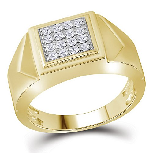 10K Yellow Gold Mens Square Cluster Genuine Diamond Pinky Ring Band 1/3 CT (I2-I3 clarity; G-H color) by Jewels By Lux