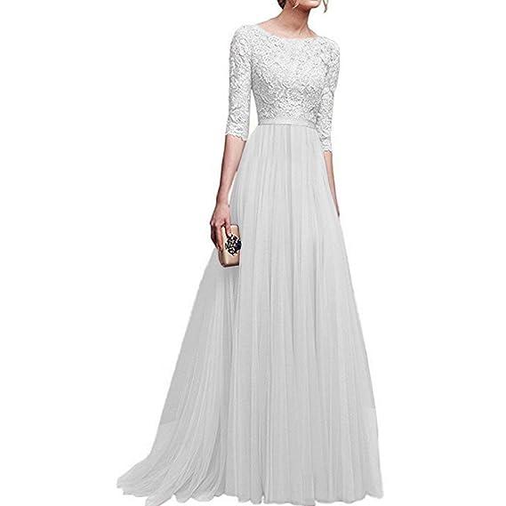 28f5597a1fd9d ilovgirl Femmes Robe de soirée en Dentelle Florale 2019 moitié Manches Demi  Empire Taille Robe Longue