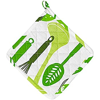 Parve Green Pot Holder - Oven Glove - 100% Cotton Quilted, Machine Washable - 8