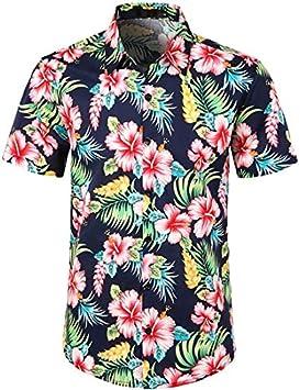 LFNANYI Algodón para Hombre Camisas Hawaianas Hombre Casual Estampado Floral Camisas de Playa Hombres Ajuste Regular Camisa de Fiesta de Manga Corta: Amazon.es: Deportes y aire libre
