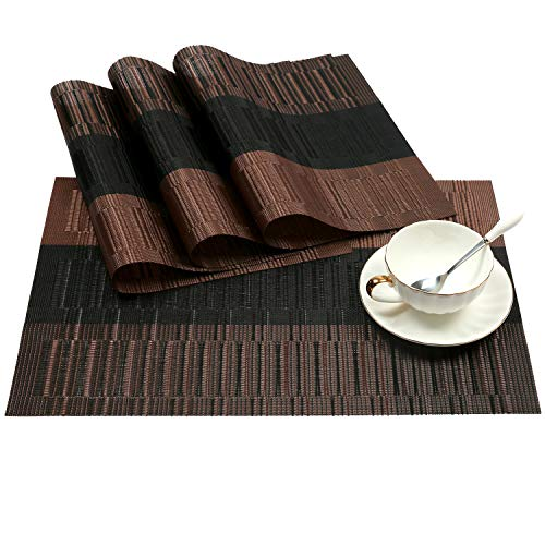 (SHACOS Placemats Set of 4 Woven Vinyl Placemat for Dining Table Heat Resistant Wipe Clean (4, Ombre Coffee Black))