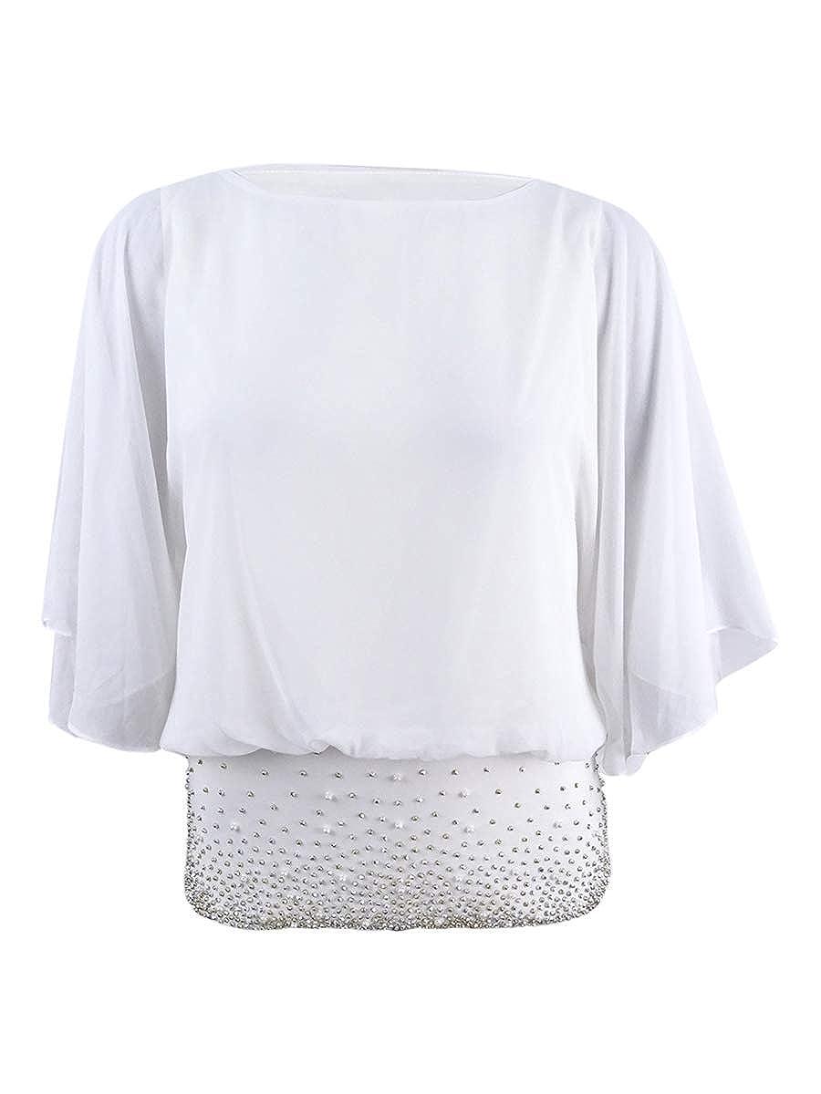 MSK Womens Chiffon Embellished Blouse