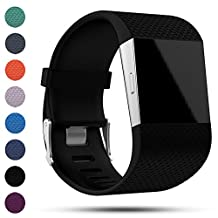 Fitbit Surge Replacement Wristband Strap, Feskio Classic Soft Silicone Metal Clasp Watch Buckle Wrist Strap Watch Band Bracelet for Fitbit Surge Fitness Super Watch with Tool Kit(Small or Large Size)