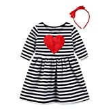 YoMarket Cotton Round Neck Casual Cute Stripe Stretchable Baby Girl Dresses+Headband Sets (Stripe-1805, 5/6Y)