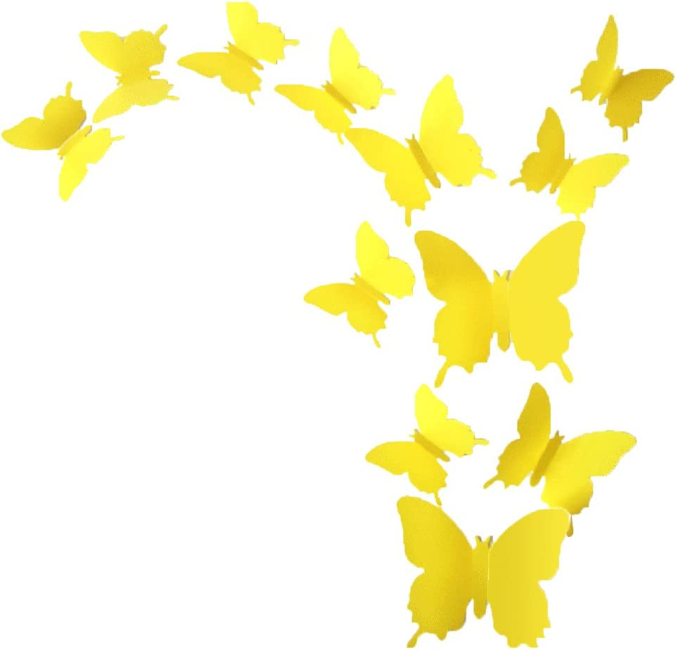 ALLICERE 12Pcs 3D Butterfly Removable Wall Decals DIY Home Decorations Art Decor Wall Stickers Murals for Babys Kids Bedroom Living Room Classroom Office(Color:Yellow)