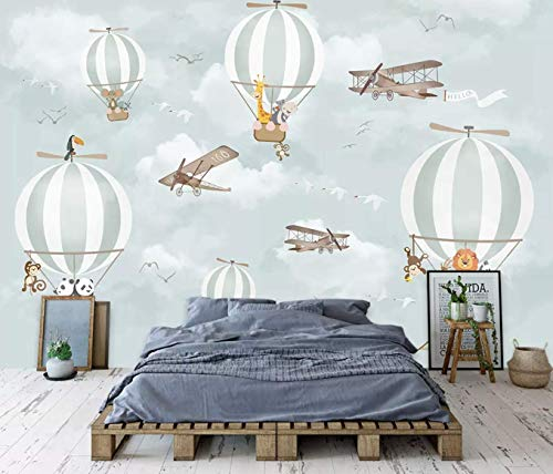 Murwall Kids Wallpaper Hot Air Balloon Animals Wallpaper Kids Wall Mural Airplane Wall Art Nursery Wall Decor Boys Bedroom Girls Bedroom ()