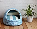 1 Pcs Optimal Popular Pet Half Covered Bed Size S Portable Couch Cat Pad Rug Indoor Kennel Color Type Blue