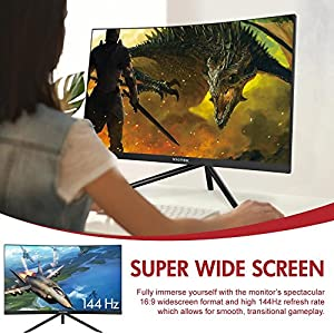 "VIOTEK GN24C 24"" 144hz Curved Gaming Monitor, Bezel-less Samsung VA Panel w/ Built-in Speakers-Full HD 1080p Monitor with 144Hz Refresh Rate, HDMI, DP & VESA"