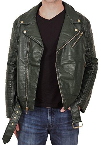 Jordan Craig Men's Classic Padded PU Biker Jacket from Legacy Edition Olive
