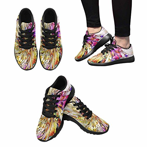 InterestPrint Womens Trail Running Shoes Jogging Lightweight Sports Walking Athletic Sneakers Stained Glass Series Multi 1 2S0ZK1