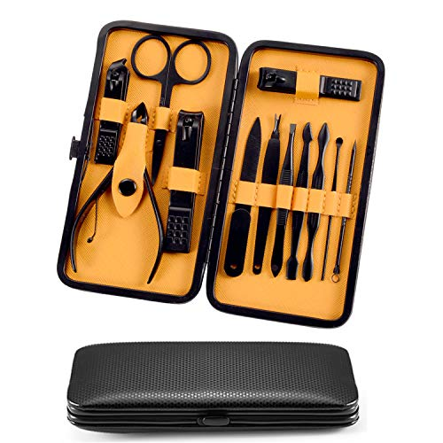 Manicure Pedicure Set 12 In 1 Stainless Steel Professional Grooming Nail Clippers Kit Scissors tweezers Tools with Portable Luxurious PU leather travel case - JINJIAN (Black/Yellow)