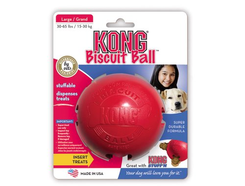 KONG Biscuit Ball Dog Toy, Large, Red, My Pet Supplies