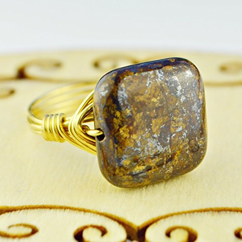 Bronzite Square Gemstone Bead and Sterling Silver or Gold Filled Wire Wrapped Ring- Made to size 4 -14