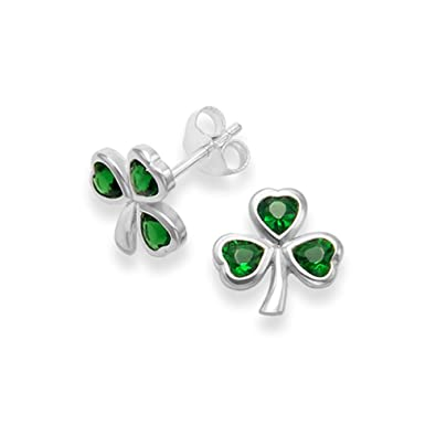 ed0f85b70948c Sterling Silver Emerald Cubic Zirconia Shamrock Earrings 5721EM. Gift Boxed  clover stud earrings
