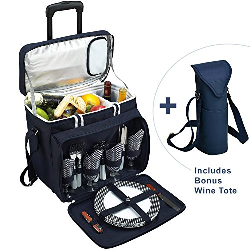 Picnic at Ascot Original Equipped Cooler on Wheels for 4 – Extra Wine Tote – Designed and Assembled in California – Navy Review