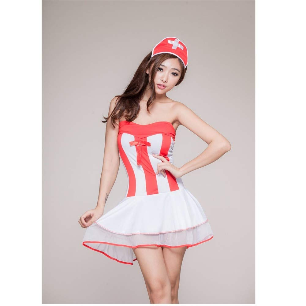 Top ShishangFalda de la enfermera de la cabestro lencería sexy pecho bajo cabestro la uniforme juego de rol de cosplay club nocturno traje, rojo 0c24c3