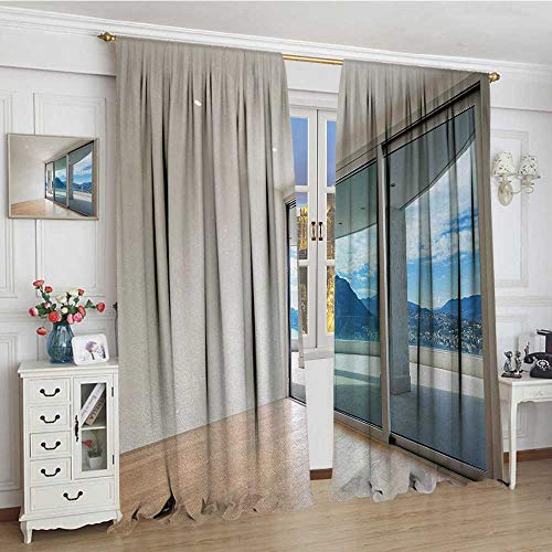 - smallbeefly Modern Patterned Drape For Glass Door Penthouse Room with Wide Terrace Sliding Door Parquet Mountains Idyllic Art Waterproof Window Curtain 84