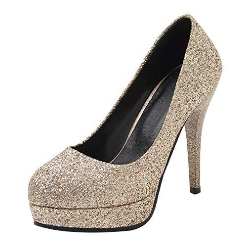Tacco Glitter Slip Da Donna A Scarpe Alto On Plateau Spillo Lavoro Con Punta Eleganti Oro Vitalo Sposa Decolte R8Z0qq