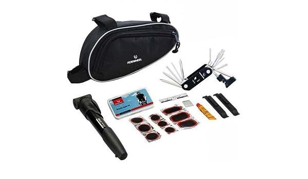 Roswheel - Set de herramientas para reparar ruedas de bicicleta (incluye parches y mochila para guardar accesorios): Amazon.es: Bricolaje y herramientas