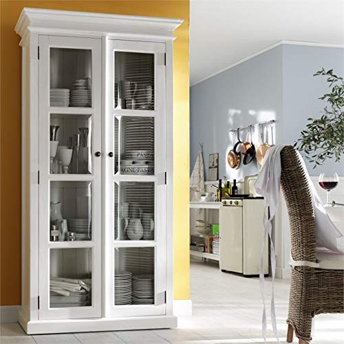 NovaSolo Halifax Pure White Mahogany Wood Double Display Stand With Glass Doors And 4 Shelves by NovaSolo (Image #1)